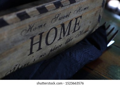 Limassol/Cyprus - August 25, 2019: Condiments box reading Home Sweet Home, No Place like Home
