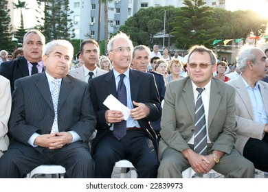 LIMASSOL,CYPRUS-JUNE 7, 2008: President  Dimitris Christofias in Cypriot-Russian festival.