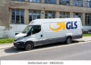 LIMBACH-OBERFROHNA, GERMANY - April 28, 2018: GLS delivery van. General Logistics Systems B.V. was founded in 1999 and is a subsidiary of British postal service Royal Mail.