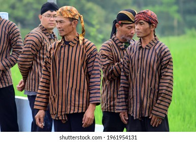 Limbangan, Indonesia - 11 April 2021: Male adults wear Javanese clothes, Traditional Javanese clothes
