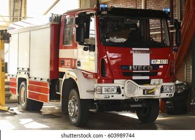 LIMBAZI, LATVIA - MARCH 19, 2017: New modern fire truck IVECO MAGIRUS in Latvia