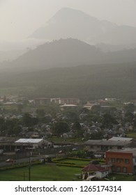 Limbe / Cameroon - November 18 2009: View on the town of Limbe, in the background Mount Cameroon.