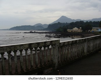 Limbe / Cameroon - November 2009: View from a restaurant in Limbe towards the ocean and the coastline.