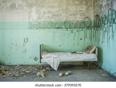 Limbiate, Italy. The abandoned hospital Giuseppe Antonini, better known as  psychiatric hospital of Mombello. Nowadays it's a very dangerous place for possible collapses due to its condition.