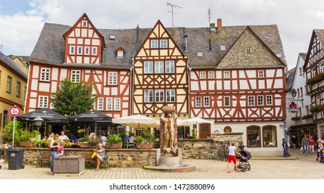 LIMBURG AN DER LAHN, GERMANY - AUGUST 02, 2019: Restaurants at the market square of Limburg an der Lahn, Germany