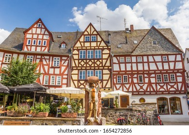 LIMBURG, GERMANY - AUGUST 02, 2019: Half timbered houses a the market square of Limburg an der lahn, Germany