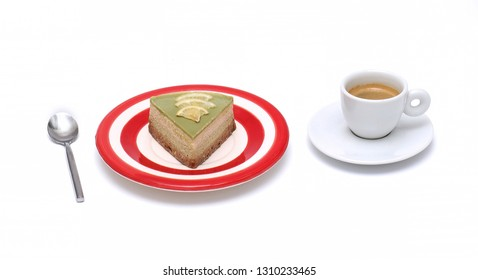 Lime cheese cake on red plate and espresso coffee in a cup on white background