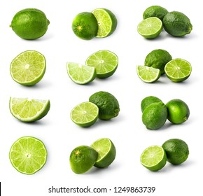lime citrus fruit set isolated on white background