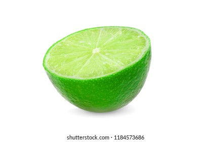 Lime cut isolated on white background.