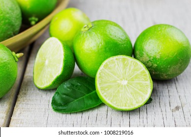 lime cut on the wooden floor.