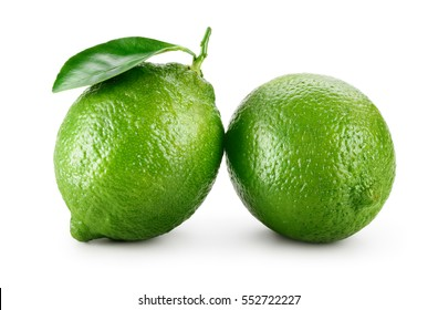 Lime. Fresh fruit with leaf isolated on white background.