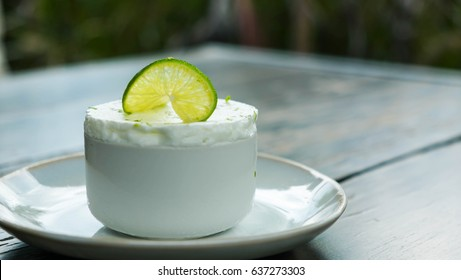 Lime frozen souffle on wooden background