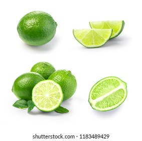 Lime. fruit with a half isolated on white background