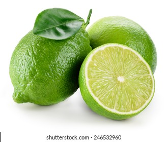 Lime. fruit with a half isolated on white