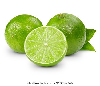 lime fruit isolated closeup. Clipping Path