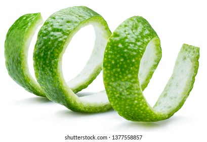 Lime fruit peel isolated on the white background.