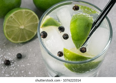 Lime Gin and Tonic with Juniper Berries