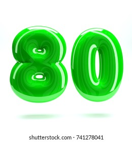 Lime green glossy celebrate letter number eighty 80 bold and uppercase. 3D render font painted with lime green polish and light reflection isolated on white background with clear shadow
