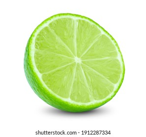 lime or green lemon isolated on white background