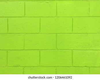 Lime Green Painted Brick Wall