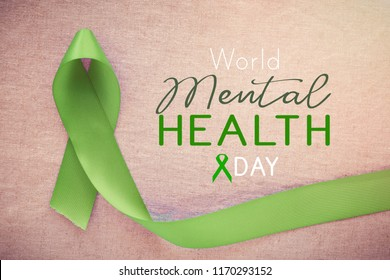 Lime GreenRibbon, world Mental health day