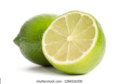 lime and  half of lime isolated on white background