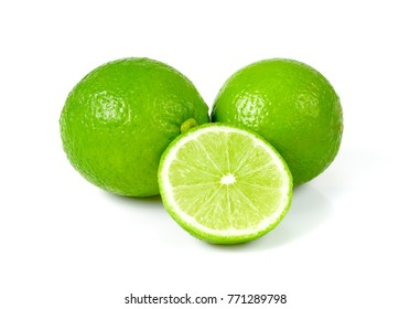 Lime with half isolated on white