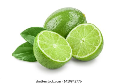 lime with half and leaf isolated on white background
