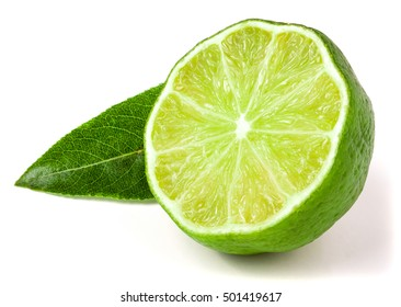 Lime half with leaf isolated on white background