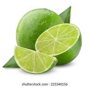 Lime with half and leaves isolated on white background. Clipping Path