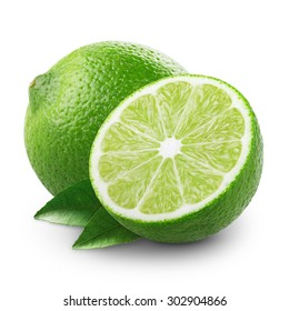 Lime with half and leaves isolated on white