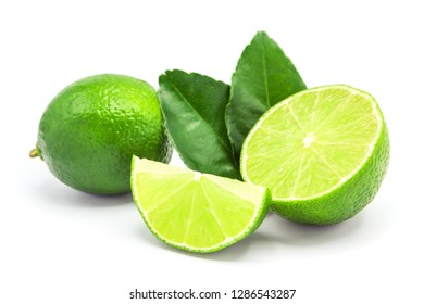 lime with half lime slice isolated on white background.