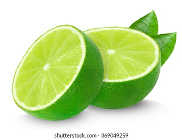 lime halves isolated on white background
