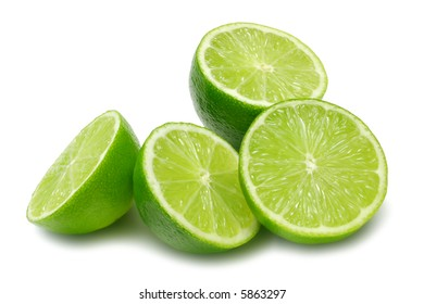 Lime halves isolated on white