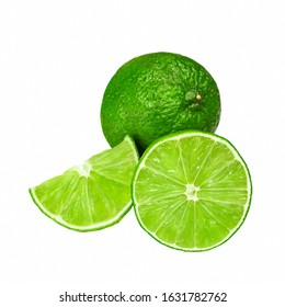 Lime isolated on white background. Whole and slice of fresh green citrus limes. Fruit