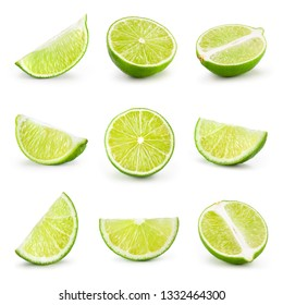 Lime isolated on white. Collection: lime slice, piece, half, quarter, part, segment, section.