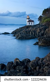 Lime Kiln Lighthouse located on the west coast of San Juan Island in the Puget Sound area of western Washington, USA. The lighthouse faces the Haro Strait just across from Victoria, British Columbia.