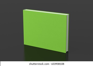 Lime landscape blank book cover mockup with fabric texture standing isolated on black background. 3d illustration