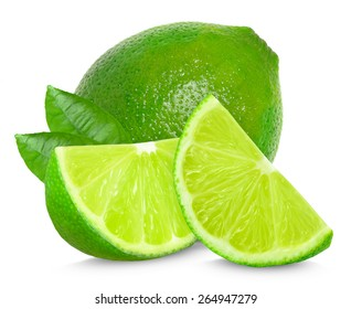 lime and leaf isolated on a white background