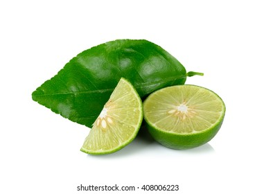 lime and leaves isolated on the white background.
