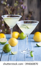Lime and lemon martini with vodka in the cocktail glasses