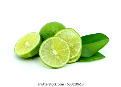 lime and limes slice on white background.