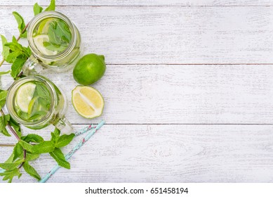 Lime and mint detox water .