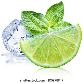 Lime, mint and ice cube on a white background.