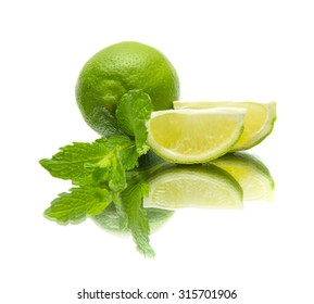 lime and mint on mirror, isolated on white background