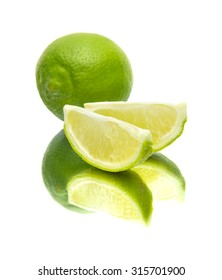 lime on mirror, isolated on white background