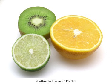 lime, orange and kiwi