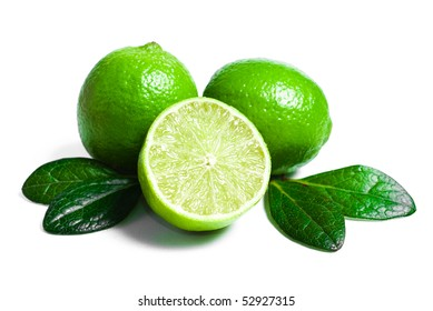 Lime with section on a white background