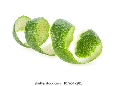 Lime skin isolated on white background