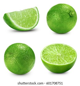 lime slice collection isolated Clipping Path